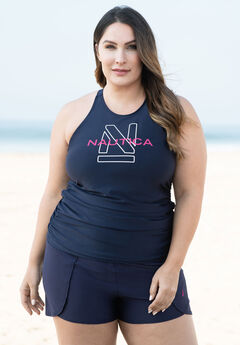 High-Neck Swim Tankini Top by Nautica,