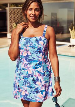 Princess-Seam Swimdress with Brief,