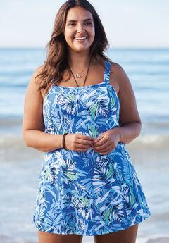 Princess-Seam Swim Dress, BLUE TROPICAL