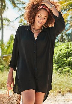 Shea High-Low Button Front Cover Up Shirt,