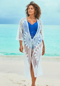 Open-Front Embroidered Cover Up,