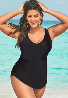 Sarong Front One Piece Swimsuit, BLACK