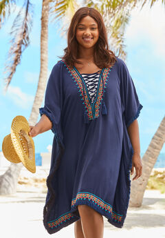 Lace-Up Coverup with Embroidery,