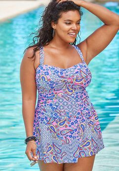 Twist-Front Swimdress with Twist Detail, DREAM BLUE PAISLEY