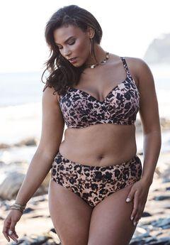 Cross-Front Bikini Top, LEOPARD, hi-res