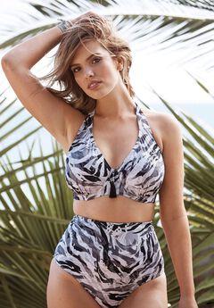 Underwire Halter Bikini Top, GREY ZEBRA