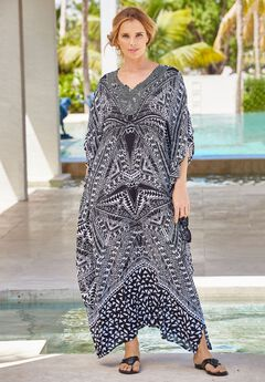 Long Embroidered Coverup, BLACK WHITE TRIBAL