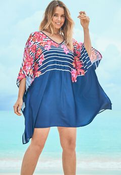 Cold-Shoulder Cover Up, NAVY HIBISCUS STRIPE