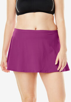 A-Line Swim Skirt with Built-In Brief, BRIGHT FUCHSIA, hi-res