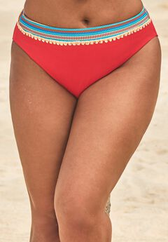 Mentor Ribbed High Waist Bikini Bottom, RED MULTI AZTEC