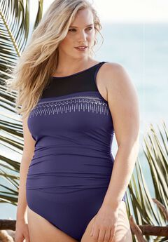 High-Neck Studded Swimsuit, PURPLE, hi-res