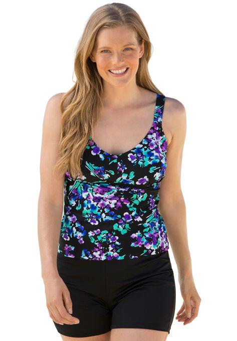 163791e50ab94 V-neck Tankini Top by Beach Belle®| Plus Size Swimwear | Roaman's