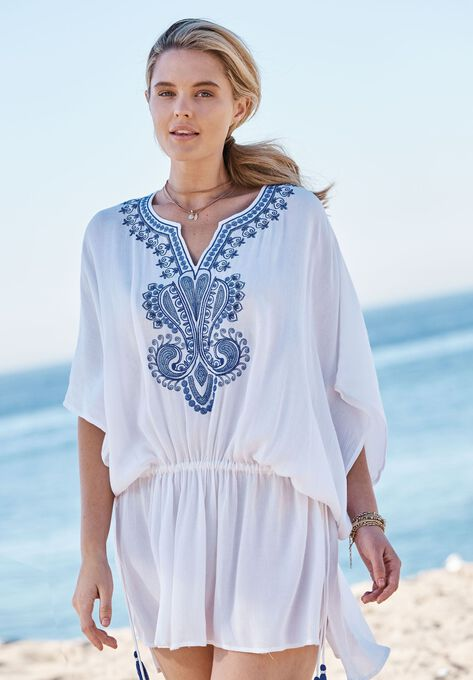eb66d144f9 Embroidered Tunic Swim Coverup| Plus Size Swimsuit Cover Ups | Roaman's