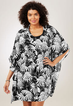 Caftan Coverup, BLACK WHITE PALM, hi-res