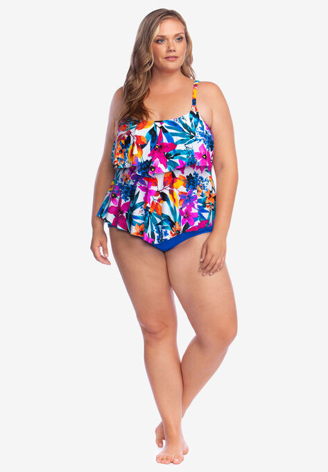 c7952a49fe4 Two-Tier Tankini Top by Maxine of Hollywood  Plus Size Tankini Tops ...