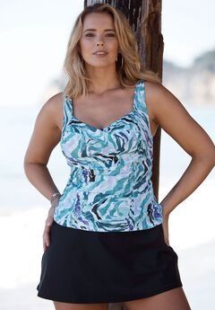Twist Front Tankini Top by Tropiculture, ZEBRA, hi-res