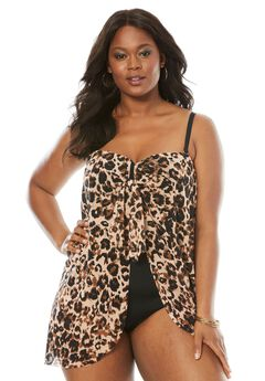 Mesh-Draped Swimsuit, LEOPARD, hi-res