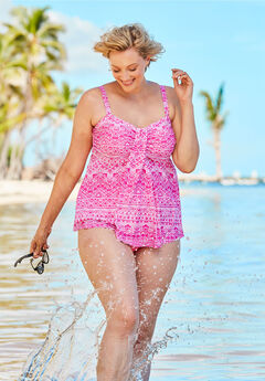 Flyaway Tankini Top with Bust Support, ELECTRIC PINK TRIBAL