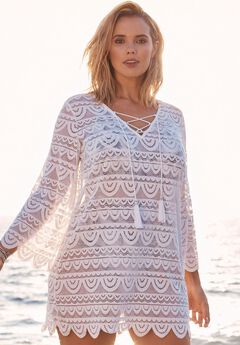 Lace Tassel Coverup, WHITE