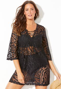 Maeve Burnout Lace Front Tunic Cover Up,