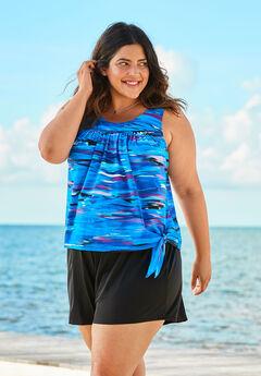 2-Piece Blouson Swim Set, BLUE WAVE ABSTRACT