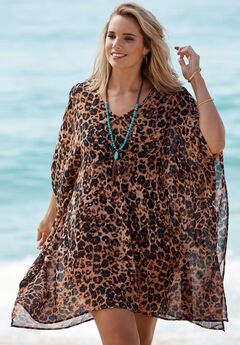 Cold Shoulder Coverup, LEOPARD, hi-res