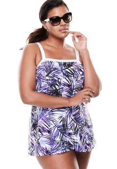 Banded Swimdress with Contrast Trim, PURPLE PALM, hi-res