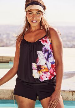 Blouson Tankini Top, BEAUTIFUL FLORAL, hi-res