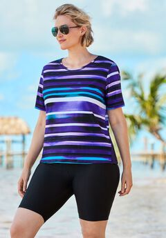 Colorblock Swim Tee with Sun Protection,