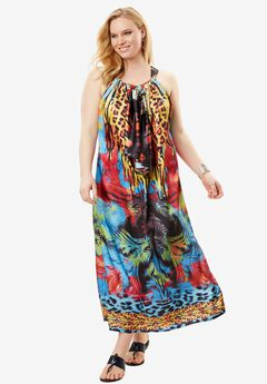 Long Caftan Coverup, MULTI JUNGLE, hi-res