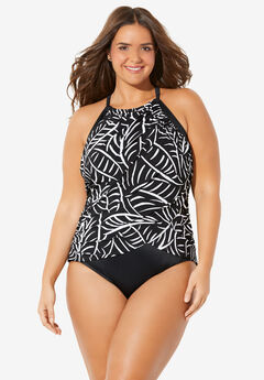 High-Neck Ruched One-Piece by Trimshaper® by Miraclebrand,