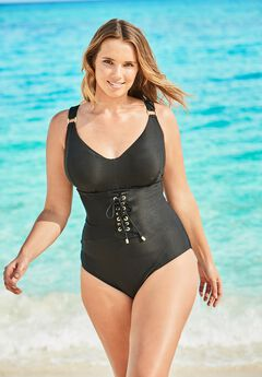 Ribbed Bra-Size Swimsuit,