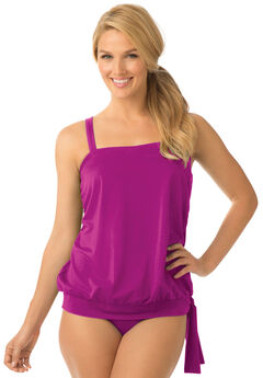 Side tie tankini top with blouson by Swim 365®,