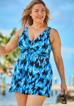 Twist-Front Swim Dress,