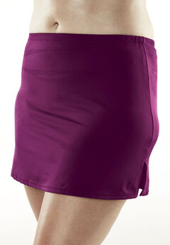 Side-Slit Swim Skirt with Built-in Brief, DEEP MAGENTA