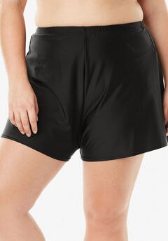 Loose Swim Short with Built-In Brief, BLACK, hi-res