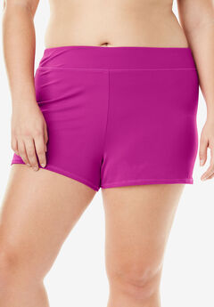 Wide Band Swim Short, BRIGHT FUCHSIA, hi-res