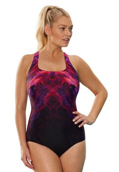 Cross-Back Maillot Swimsuit, PINK, hi-res