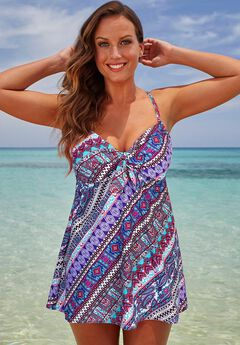 Tie Front Underwire Swimdress,
