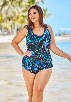 Sarong-Front One-Piece Swimsuit by Beach Belle,