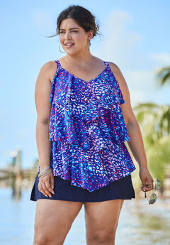 Tiered-Ruffle Tankini Top,