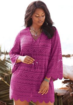 Lace Tassel Coverup, BRIGHT FUCHSIA, hi-res