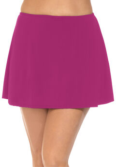 A-Line Swim Skirt with Built-In Brief, RASPBERRY