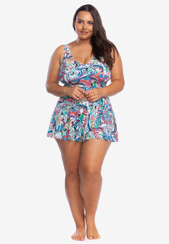 Surplice Skirted One-Piece by Chaps,