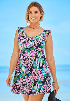 Ruffle Neck Swimdress by Swimsuits for All,