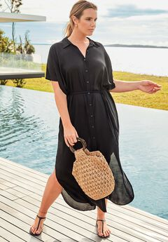 Grace Long Button Front Dress Cover Up,