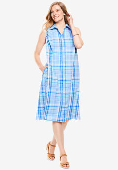 Sleeveless Seersucker Shirtdress,