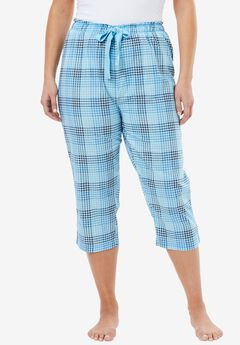 Print Pajama Capri by Dreams & Co.®, CRYSTAL SEA PLAID, hi-res