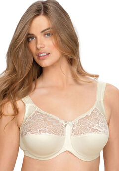 Underwire Lace Top Full Support Bra by Aviana® , CANDLE LIGHT