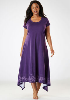 Trapeze Wide-Sweep Nightgown by Dreams & Co.®, RICH VIOLET STAR